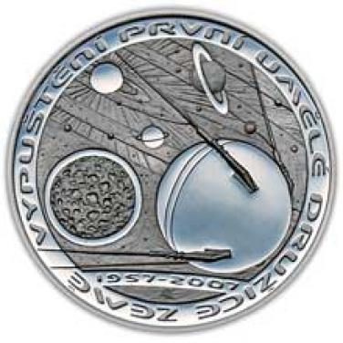 Stříbrná mince - 50. výročí vypuštění první umělé družice Země - Sputnik b.k.