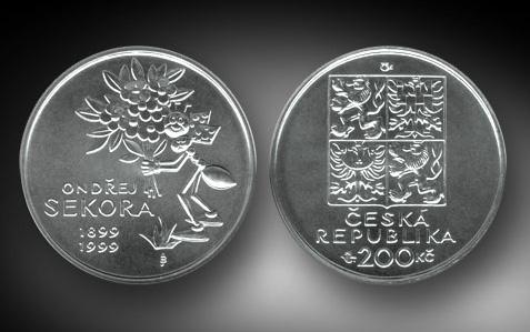 1994 - 200 Kč mince 650. výročí založení kláštera na Slovanech (Emauzy) b.k.