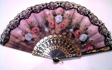 Vějíř látkový - Baroko Rose