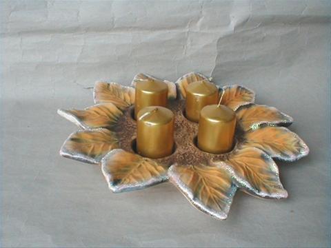 Vánoční dekorace - Adventní svícen věnec - žlutý