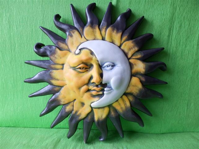 Keramika na zeď Slunce-měsíc L color