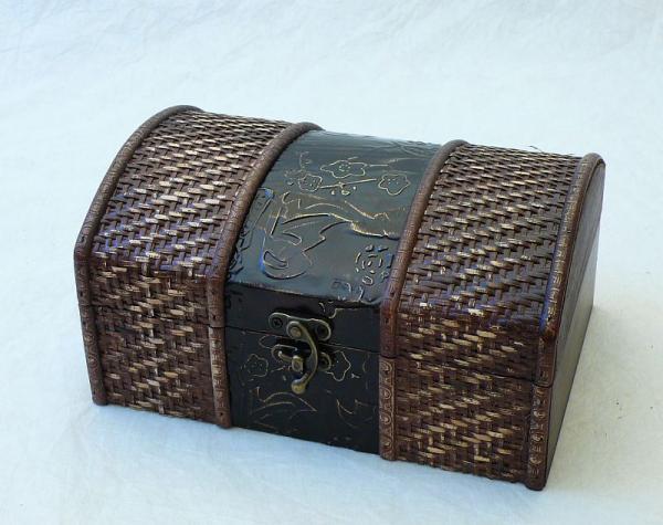 Dřevěná truhla - šperkovnice s výpletem - sada 1+1