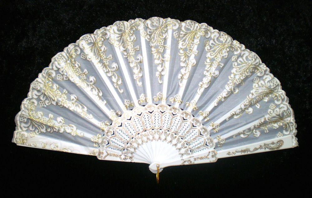 Vějíř látkový - Baroko Bílý