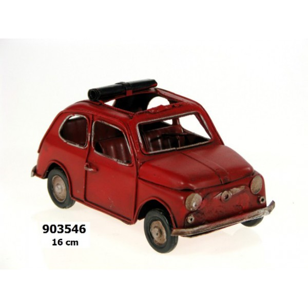 Plechový retro model Auto červené Fiat