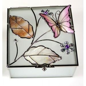 Skleněná šperkovnice s perleťovou vitráží Motýl růžová
