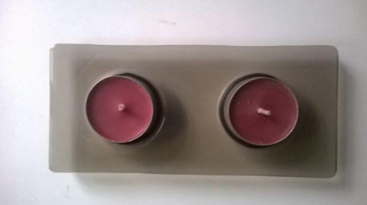 Skleněný svícen na 2 svíčky Brown