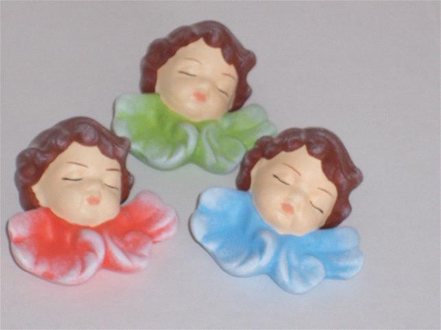 Vánoční dekorace Hlava andělíčka zelená mašle