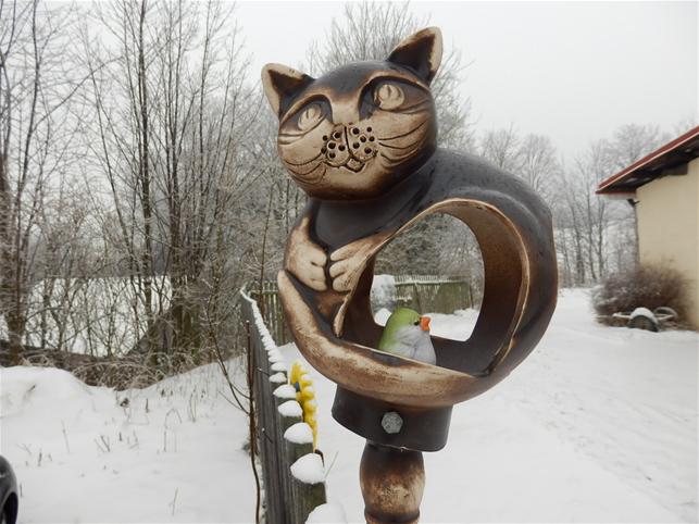 Keramická Kočka krmítko Natural