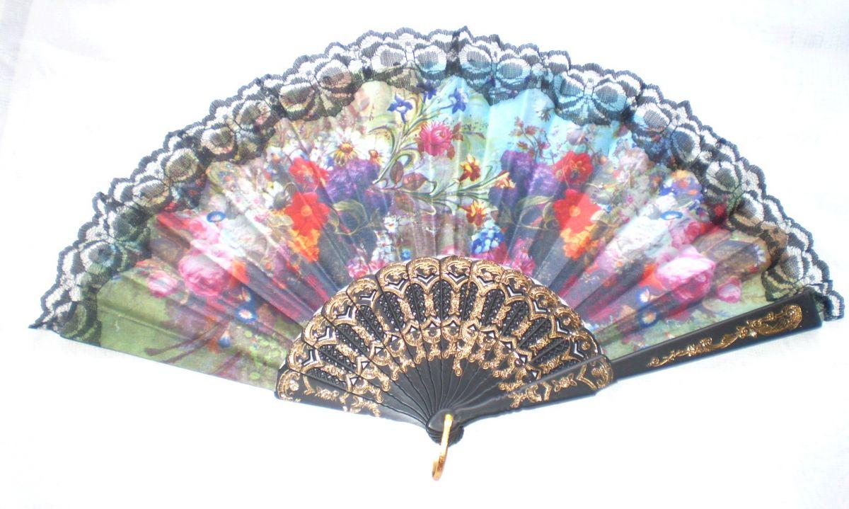 Vějíř látkový - Baroko Letní zahrádka