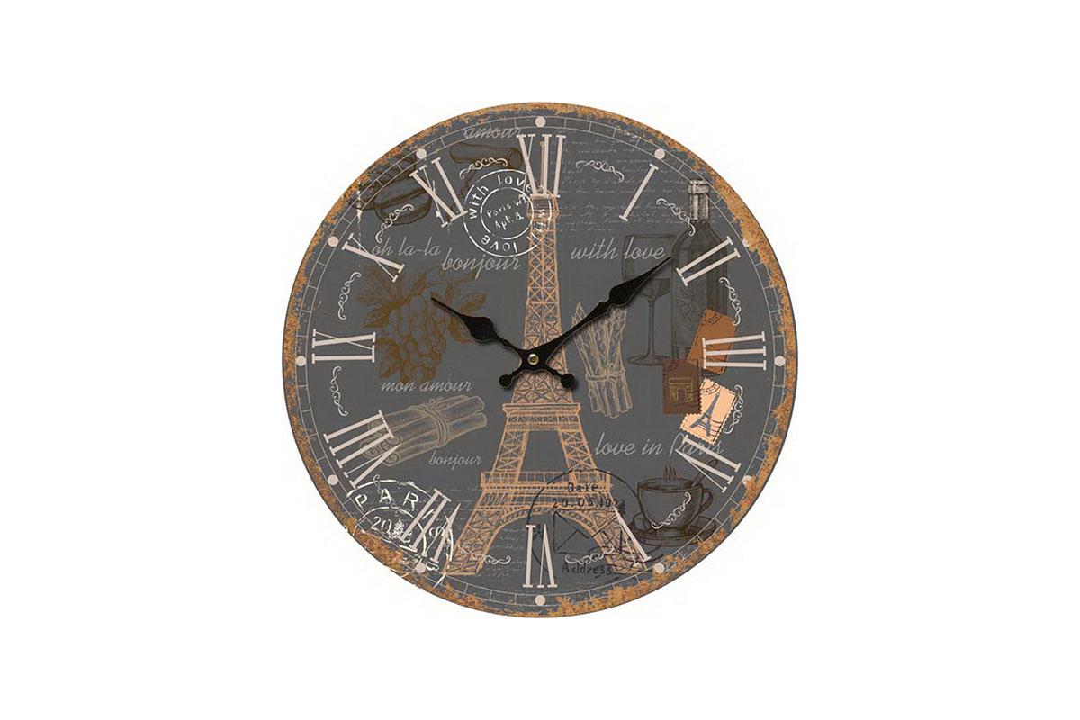 Hodiny na zeď Eiffelovka Grey
