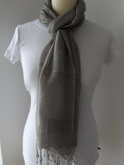 Bavlněný šátek Pruhy - šedý