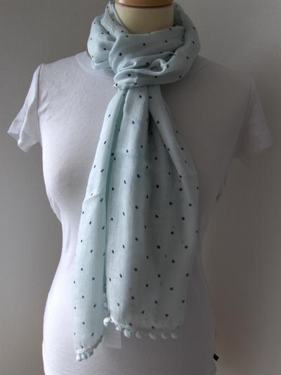 Bavlněný šátek Puntíky - světle zelenomodrý