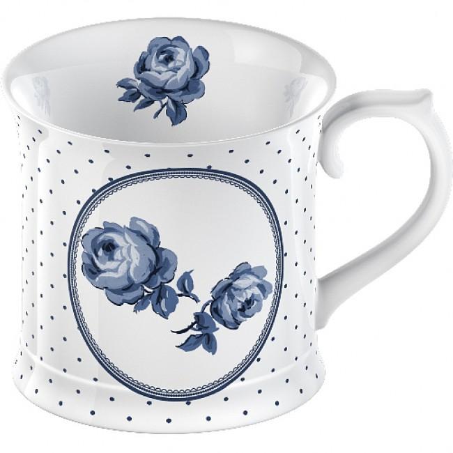 Porcelánový luxusní hrnek Bílý s růží a puntíky