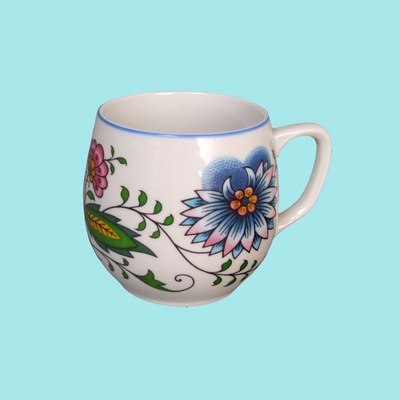 Porcelánový hrnek baňák Cibulák - český porcelán DUBÍ - přátelská souprava