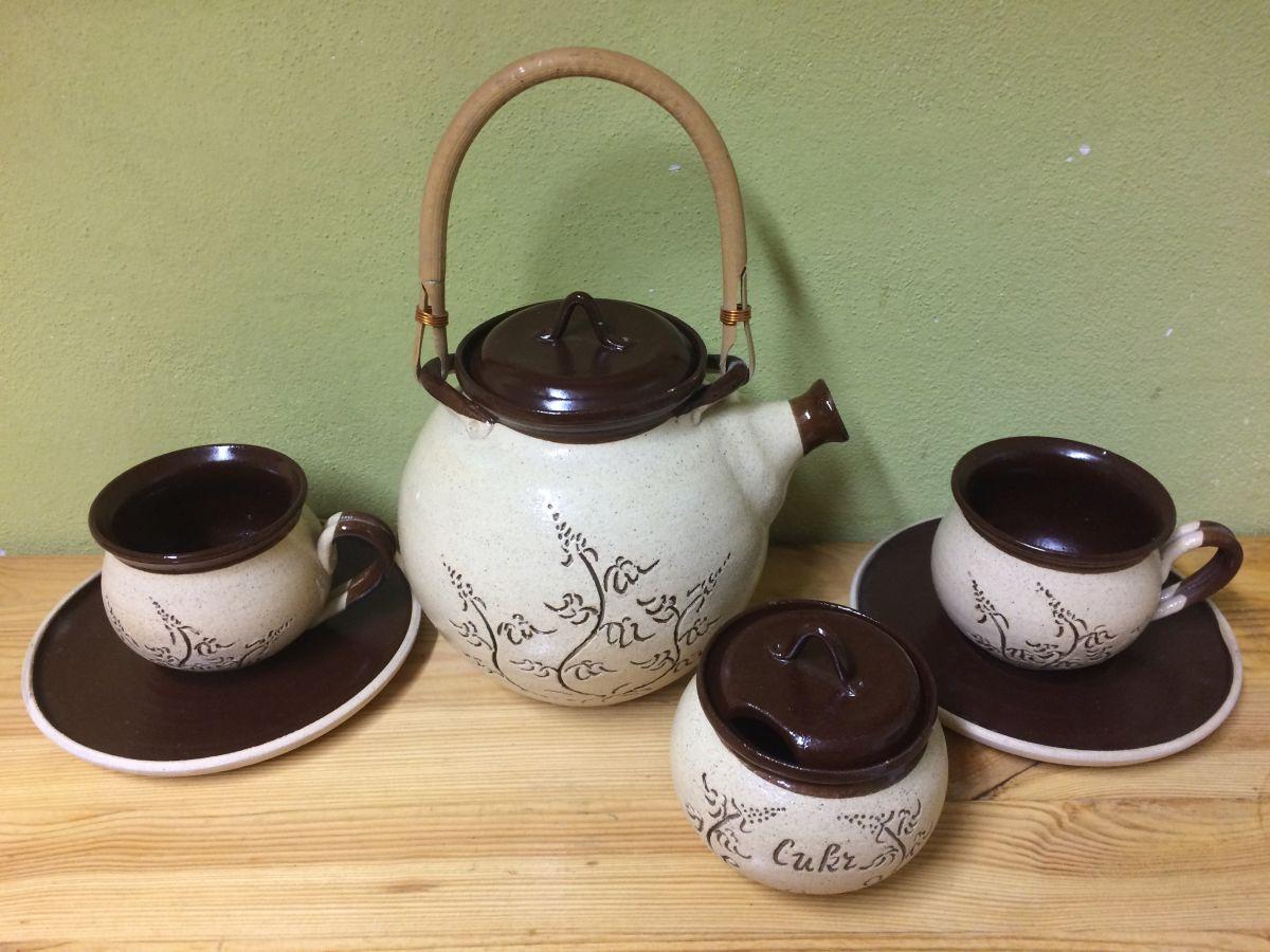 Keramická přátelská sada Kafé s cukřenkou a konvicí