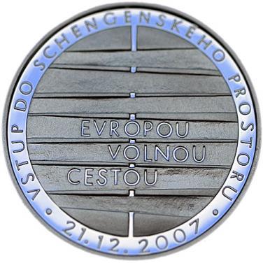 Stříbná mince 2008 mince 200 Kč - Vstup do schengenského prostoru b.k.