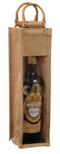 Jutová taška na víno s okýnkem AKCE