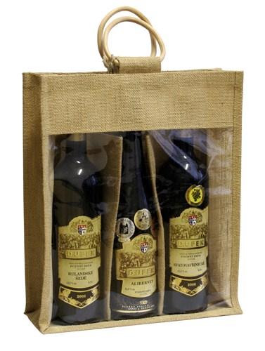 Jutová taška na 3 láhve