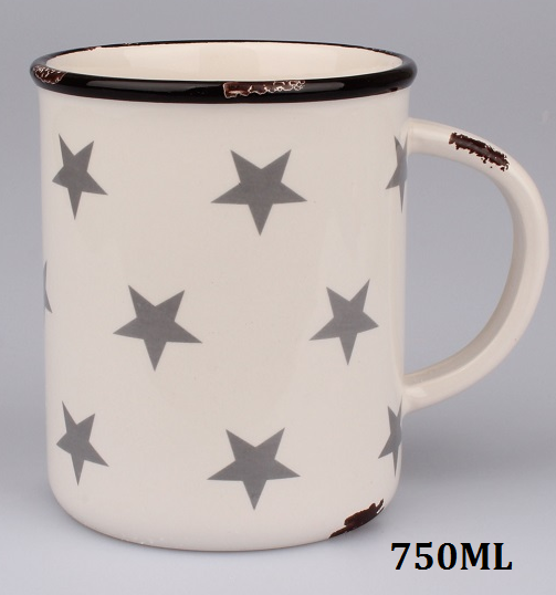 Keramický maxi hrnek béžový Hvězdy 750ml
