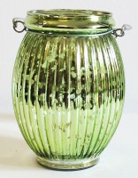 Skleněný zrcadlový svícen na svíčku zelený