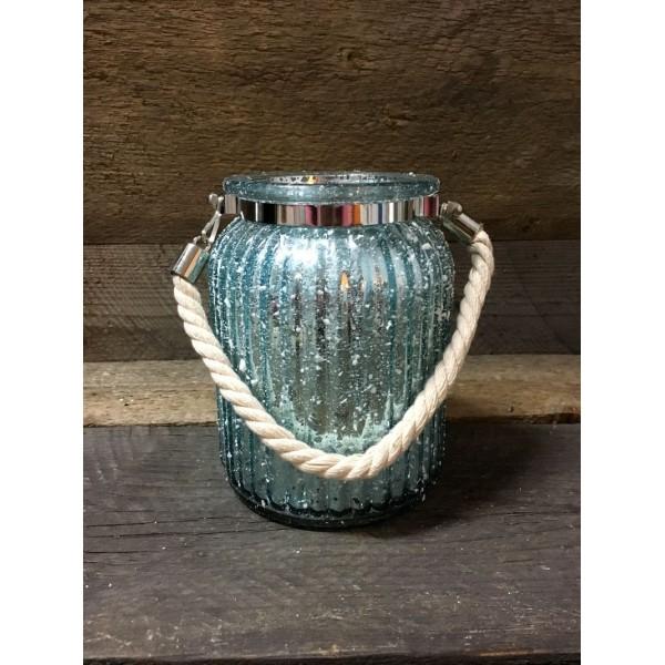Skleněný zrcadlový svícen na svíčku modrý azurový