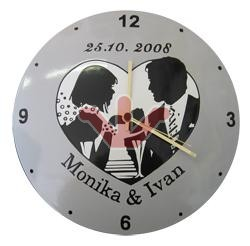 Smaltované hodiny - svatební