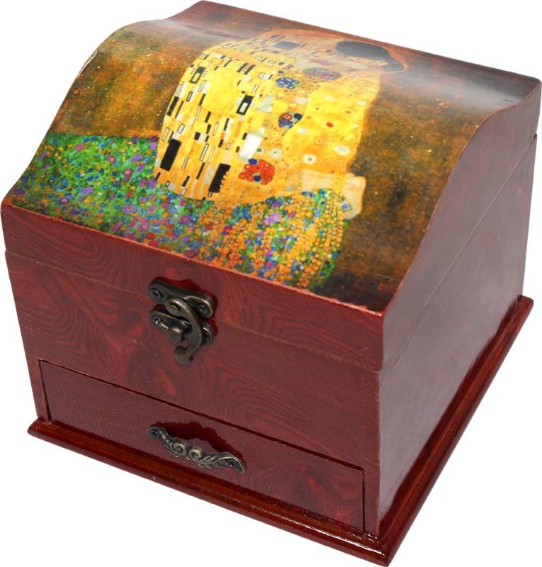 Dřevěná šperkovnice Gustav Klimt se šuflíčkem