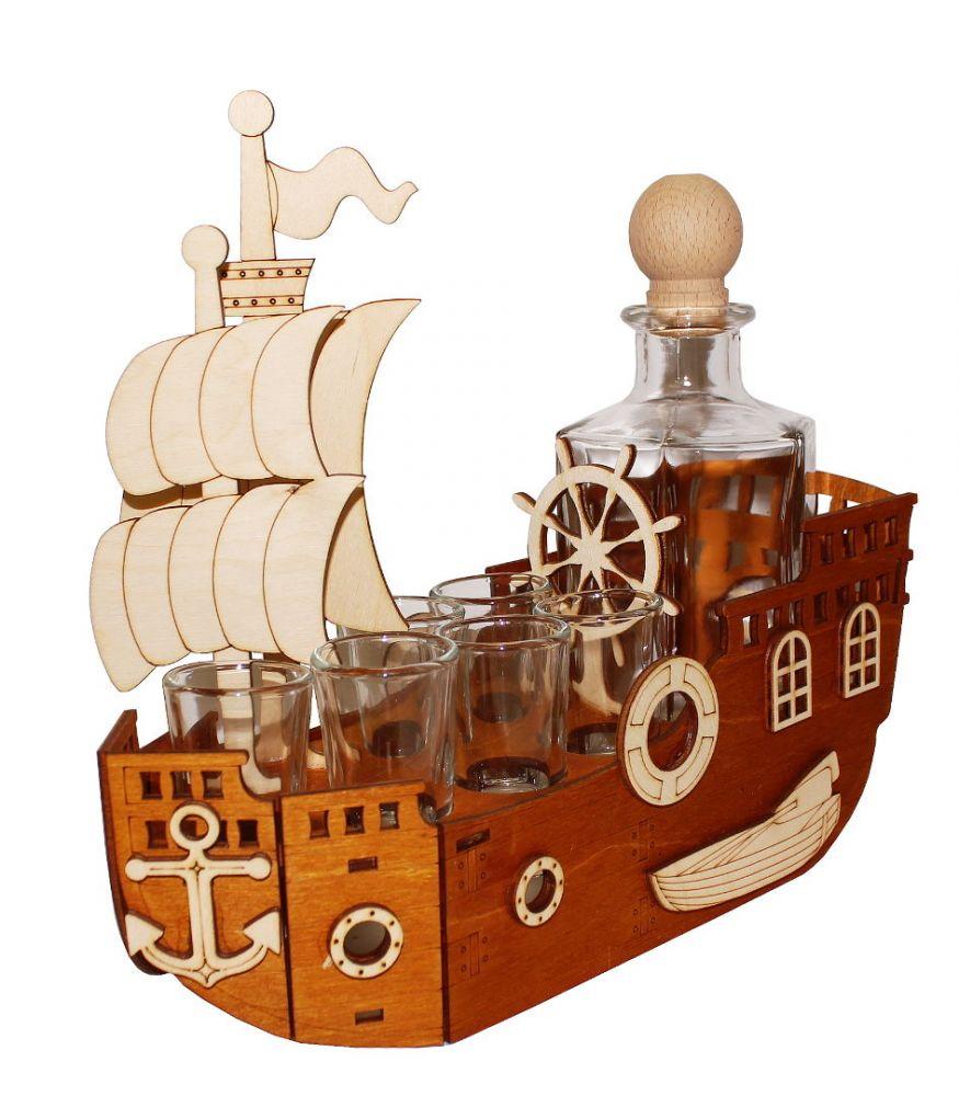 Dřevěný stojan na karafu a skleničky 6ks Loď