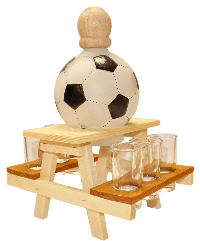 Dřevěný stojan na karafu a skleničky 6ks Míč - fotbalista