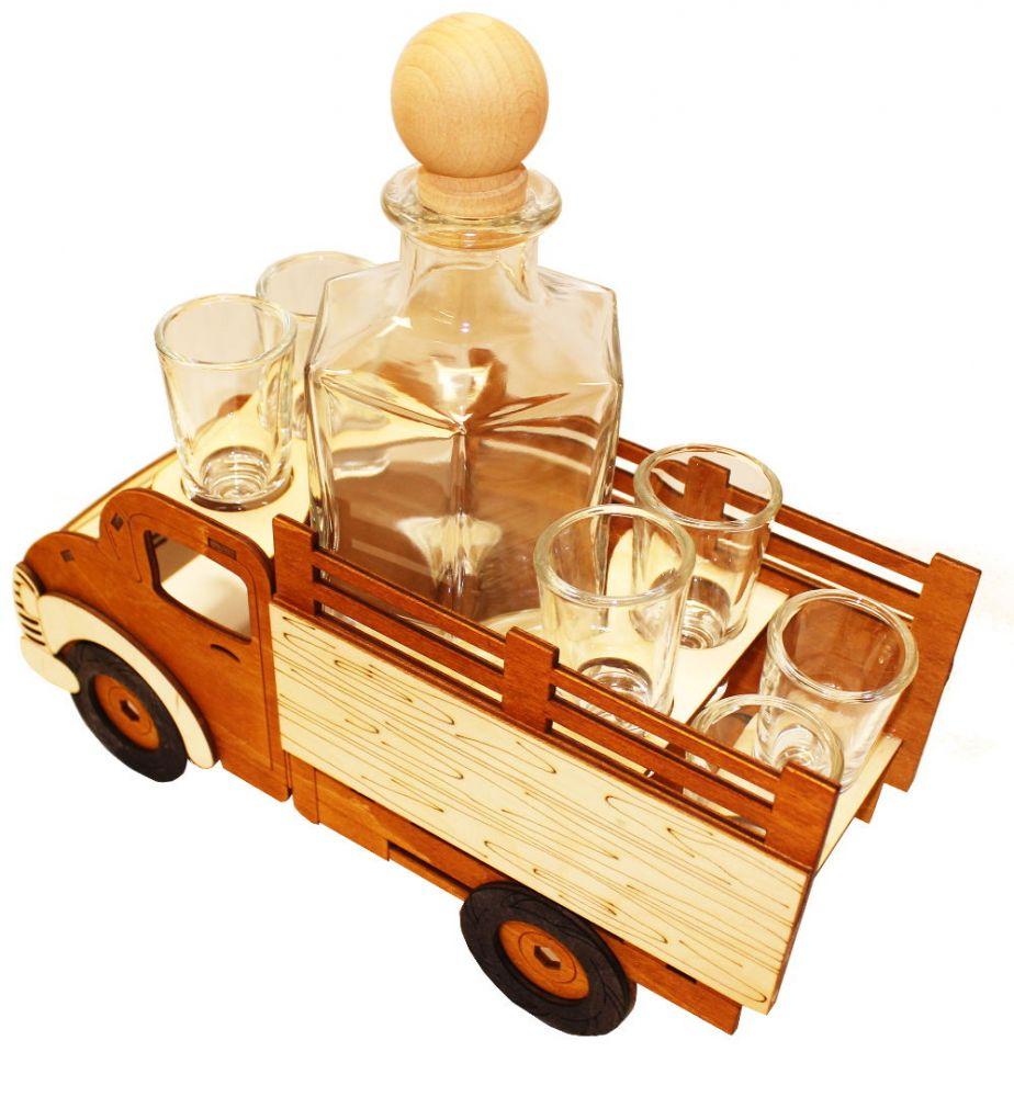 Dřevěný stojan na karafu a skleničky 6ks Dodávka