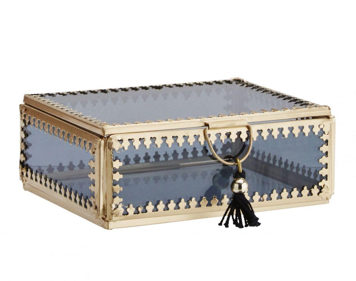 Skleněná krabička - šperkovnice Orient gold