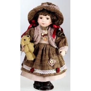 Porcelánová panenka Bruneta v klobouku s medvídkem