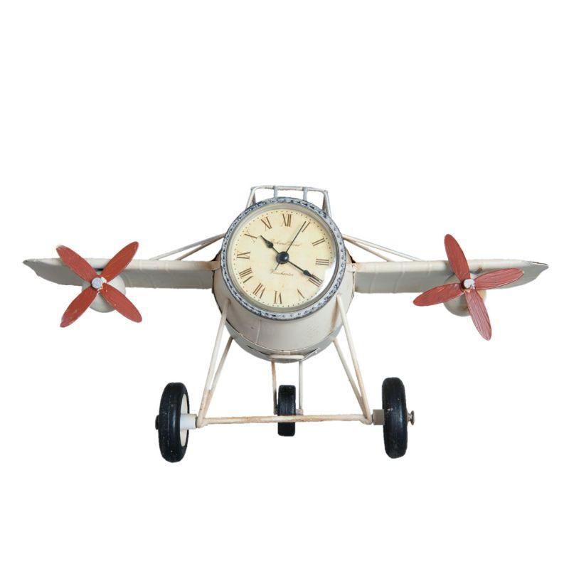 Kovové hodiny letadlo Aeroplán bílé