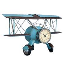 Kovové hodiny letadlo Aeroplán modré