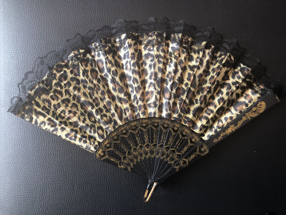 Vějíř látkový - Baroko Tygrovaný Zlatý