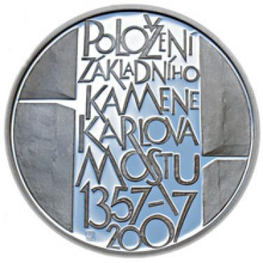 Stříbrná mince - 650. výročí položení základního kamene Karlova mostu proof