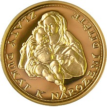 Zlatá medaile Dukát k narození dítěte proof 2010