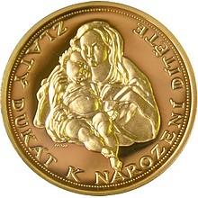 Zlatá medaile Dukát k narození dítěte proof 2008