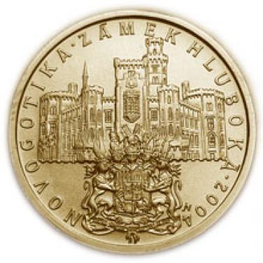 Zlatá mince Novogotika Zámek Hluboká proof