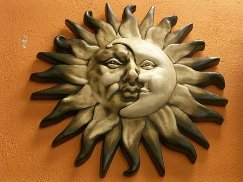 Keramika na zeď Slunce-měsíc L