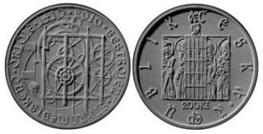 Stříbrná mince 2010 200 Kč - 600. výročí sestrojení Staroměstského orloje b.k.
