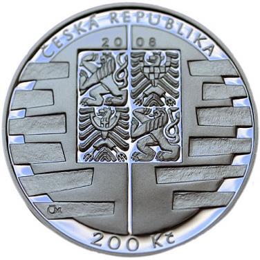 Střírná mince 2008 mince 200 Kč - Vstup do schengenského prostoru proof