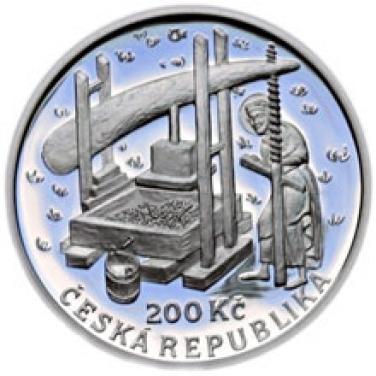 200Kč mince 650. výročí vydání nařízení Karla IV. o zakládání vinic proof