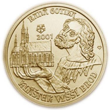 Zlatá mince Raná gotika klášter ve Vyšším Brodě proof