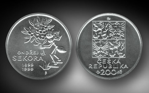 Stříbrná mince 1999 - 200 Kč 100. výročí narození Ondřeje Sekory b.k. (Sekora)