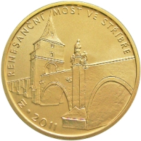 Zlatá mince Renesanční most ve Stříbře proof