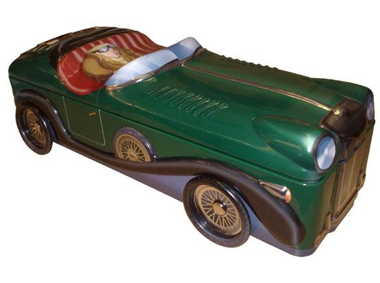 Plechová dóza Retro - Bentley kabriolet zelený