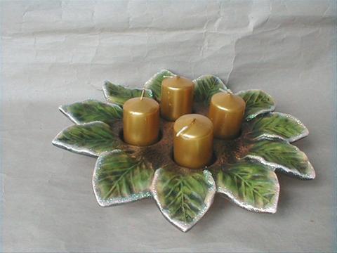 Vánoční dekorace - Adventní svícen věnec - zelený