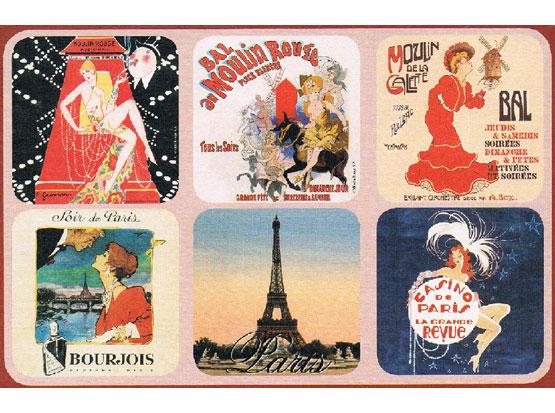 Korkové podtácky - podložky Moulin Rouge II 6 kusů