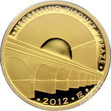 Zlatá mince Negrelliho viadukt v Praze proof